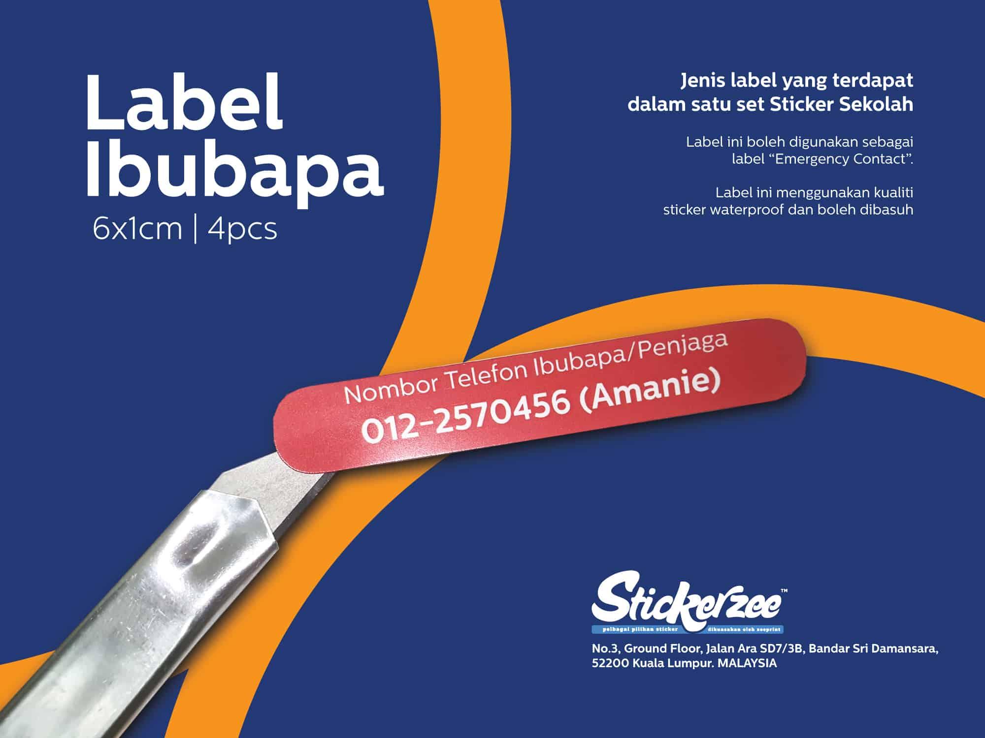 Sticker Sekolah - Label Ibubapa